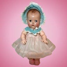 "13.5"" Tiny Tears / Betsy Wetsy Pink/Blue Organdy Dress and Bonnet Set #12"
