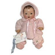"RARE * RARE Vintage Effanbee Factory PINK EIDERDOWN Snowsuit for 15"" Dy-Dee"