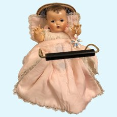 """RAREST Dy-Dee Accessory -- 1930's Effanbee Factory Marked Dy-Dee Wicker Pram * Buggy * Carriage for 11"""" to 20"""" Dy-Dee Dolls"""