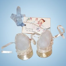 "* MINT * 1950's Satin and Lace PARTY SHOES for 20"" Tiny Tears Baby"