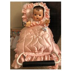 Vintage Effanbee 1930's Baby Pink Silk Pram Carriage Crib REVERSIBLE QUILT Set for Dy-Dee