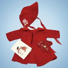 """Vintage CHRISTMAS RED Coat and Bonnet Set with Mittens for 13.5"""" Tiny Tears"""