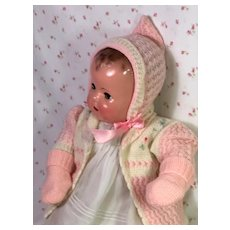 "Adorable MINT Vintage Effanbee 20"" Dy-Dee Lou Sweater — Cap — Mittens"
