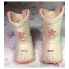"Vintage Pink Felt COWGIRL Boots for 20"" Dy-Dee LOU"