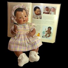 "RAREST Mold 1 Effanbee Dy-Dee Doll — 1937 Black / Sun Tan 15"" Baby"