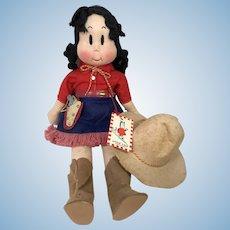 "RARE 1940's Georgene Averill 13"" Cloth LITTLE LULU Cowgirl Doll"