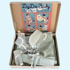 """TAGGED -1930's Effanbee 15"""" Dy-Dee BLUE Organdy Dotted Swiss Dress Bonnet Slip in Original Box"""