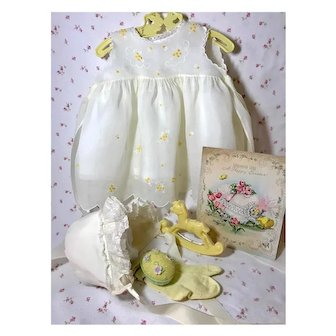 "Vintage Effanbee Dy-Dee Doll Lou Organdy Yellow Dress for your 20"" Baby -- Socks Slip Bonnet & Rattle"