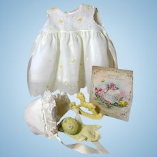 """Vintage Effanbee Dy-Dee Doll Lou Organdy Yellow Dress for your 20"""" Baby -- Dress Bonnet & Rattle"""