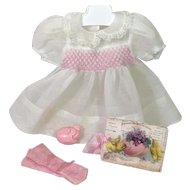 """Easter WHITE Organdy with Smocking for 15"""" Dy-Dee Jane or Tiny Tears Baby -- New Old-Store-Stock #2"""