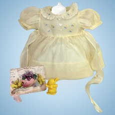 """RARE Vintage Effanbee 15"""" Dy-Dee Doll Jane Embroidered Organdy Dress"""