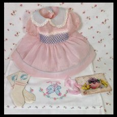 "Easter PINK Dimity with Smocking for 15"" Dy-Dee Jane  -- DRESS SLIP SOCKS"