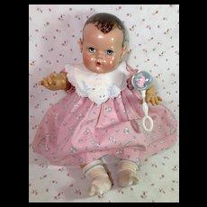 """RARE Vintage 20"""" Effanbee Dy-Dee Lou EASTER Dress -- Bunny Dress, BIB, Rattle, Socks"""