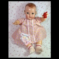 "Vintage Effanbee Dy-Dee 20"" Doll Lou EASTER CHICKS * Dress * Socks * Rattle"