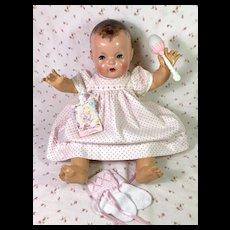 """Vintage Effanbee Dy-Dee 20"""" Doll Lou TEDDY BEARS * Dress * Socks * Rattle"""