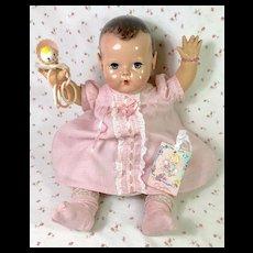 "Vintage Effanbee Dy-Dee 20"" Doll Lou Pink Gingham * Dress * Socks * Toy"