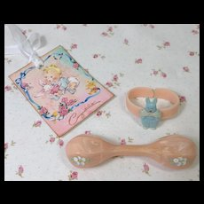 Vintage Effanbee Dy-Dee Baby Lou Celluloid BUNNY RABBIT Bracelet and Rattle