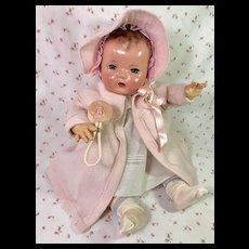 "Effanbee Dy-Dee LOU 20"" Doll Eiderdown Coat Bonnet and Easter Bunny Rattle"
