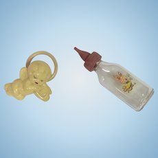 Vintage Bunny Glass Nursing Bottle and Cherub Rattle for Tiny Tears Dy-Dee