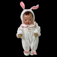 """Darling Pair EASTER BUNNY RABBIT Footed Pajamas for 11"""" Tiny Tears / Dy-Dee -- Pink and White"""