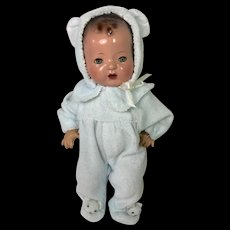 """Darling Pair BABY BEAR Footed Pajamas for 11"""" Tiny Tears / Dy-Dee -- Blue"""