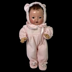 """Darling Pair BABY BEAR Footed Pajamas for 11"""" Tiny Tears / Dy-Dee -- Pink"""