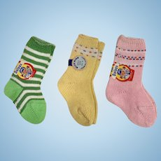 """MINT * 3 Pair Socks for 13.5"""" to 15"""" Dy-Dee / Tiny Tears Dolls"""