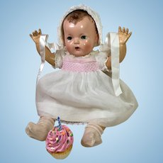 """Effanbee 20"""" DY-DEE LOU White Organdy with Smocking Birthday Dress SET"""
