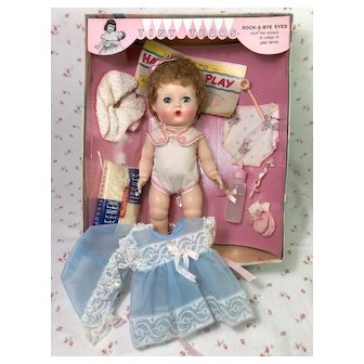 """Early 1960's Tiny Tears 12"""" Baby Mint in Box with EXTRA Outfit"""