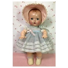 "Gorgeous 1950's Blue Organdy Print Baby Dress * Socks * Bonnet for 11-12"" Tiny Tears"
