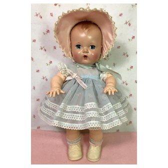 "Gorgeous 1950's Blue Organdy Print Baby Dress * Socks * Bonnet for 11-12"" Tiny Tears"