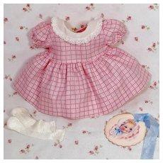 "1950's * NEW-OLD-STORE Stock * 11.5"" Tiny Tears 1950's Polished Cotton Dress * Socks"