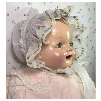Exquisite ! Vintage Organdy Embroidered FLOWERS Baby / Doll Bonnet
