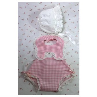 "Fresh Pink Gingham Sun Suit and Bonnet for 20"" Dy-Dee Lou"