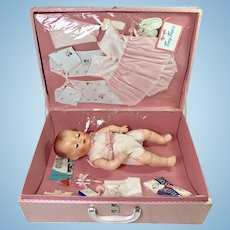 """MINT 15"""" TINY TEARS doll -- mid-1950's w/ Original Layette in Case"""