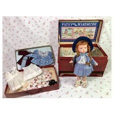 """PRISTINE 1930s Effanbee 9"""" ANNE of GREEN GABLES Patsyette doll in RARE Travel Trunk"""
