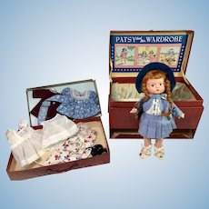 "PRISTINE 1930s Effanbee 9"" ANNE of GREEN GABLES Patsyette doll in RARE Travel Trunk"