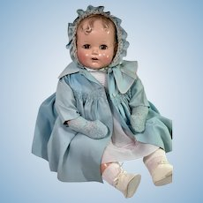 "RARE 24"" Vintage 1947 Ideal Composition Baby Beautiful Christmas Doll -- Brown Eyes"