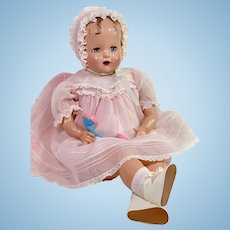 """RARE 22"""" Vintage 1947 Ideal Composition Baby Beautiful Christmas Doll -- Blue Eyes"""
