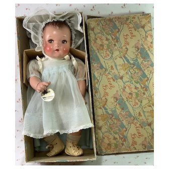 "IDEAL 16"" Flirty Eye 1930s Princess Beatrix Baby Doll -- Mint in Box"