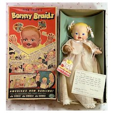 """1951 Ideal Toy Co 14"""" BONNY BRAIDS Doll in Box Complete"""