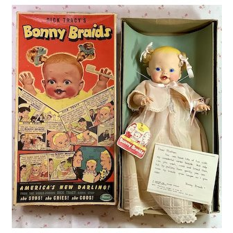 "1951 Ideal Toy Co 14"" BONNY BRAIDS Doll in Box Complete"