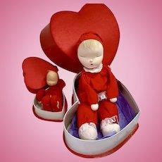 Extremely RARE * 2 Shackman CHRISTMAS RED Valentine Heart Sleepy Dolls 1959
