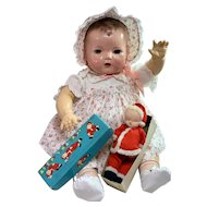 Shackman Christmas SANTA BABY Sleepy Baby Cloth Doll for Dy-Dee LOU