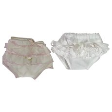 """TWO Pair of Ruffled DOLLY Panties for Dy-Dee and Friends -- 11"""" - 12"""" Baby"""