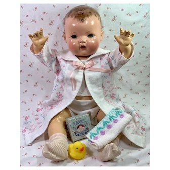 """Vintage 1930's Effanbee 20"""" Dy-Dee Lou Doll SIGNATURE ROBE * Extras"""