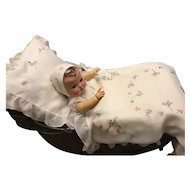 "GORGEOUS FAO Schwarz Effanbee 20"" Dy-Dee Lou Organdy Embroidered Pram Blanket Pillow Cover and Bonnet"