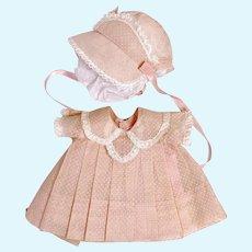 "RARE Vintage 1930's Effanbee Factory Original 11"" Dy-Dee Ette Swiss Dot Dress Set"