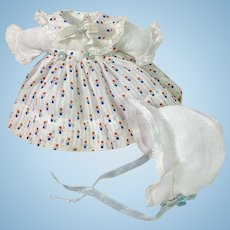 "9"" Dy-Dee WEE Vintage 1930's Effanbee Factory Baby Doll DIMITY DRESS Set"