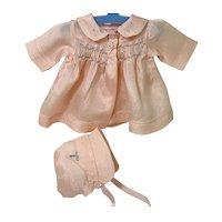 "RARE Vintage 1930's Effanbee Dy-Dee Ette 11"" Pink Silk Baby Doll Coat Set"